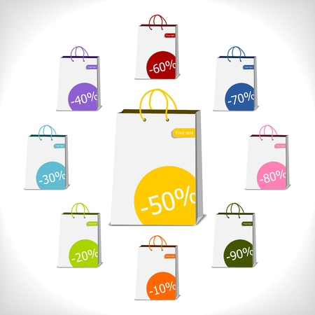 shopping bags decorated with percent stickers -illustration Vector