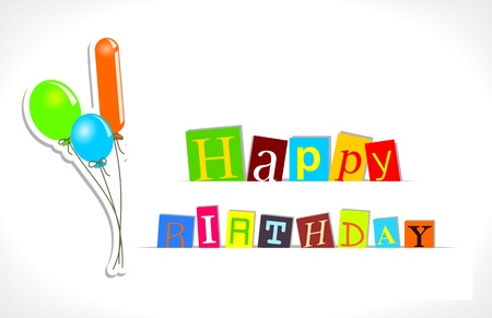 text  Happy birthday  with balloons on white background Stock Vector - 14395819