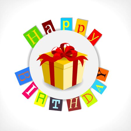 happy birthday card with gift and colorful text Stock Vector - 14395818