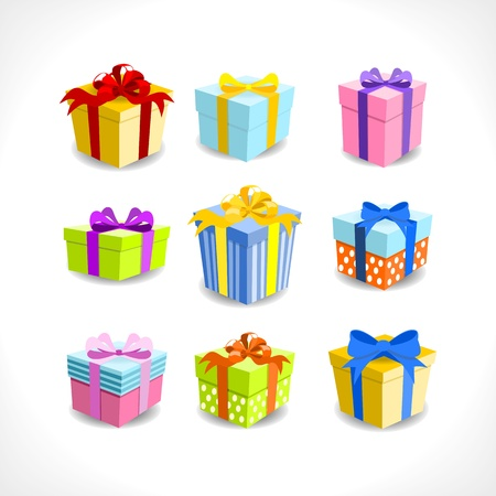 various colorful gifts with ribbons on white background Illustration