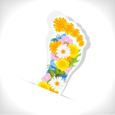 abstract footprint composed from spring flowers on white background Stock Vector - 14395826