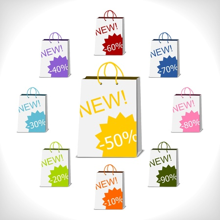 50 to 60: shopping bags decorated with percent stickers Illustration