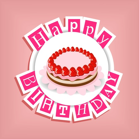 happy birthday card with cake and pink text - vector illustration Stock Vector - 14526868