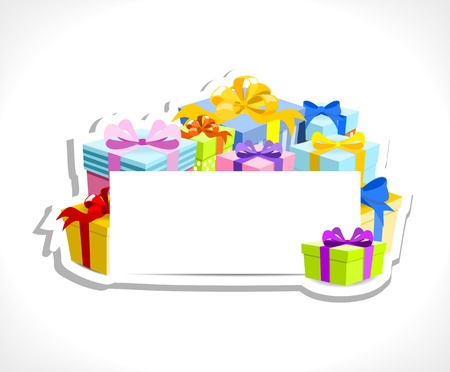 blue gift box: colorful gifts with blank card - place for your text, on white background, vector illustration