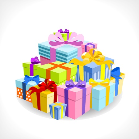 blue gift box: pile of colorful gifts on white background - vector illustration