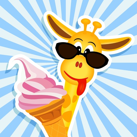 giraffe: funny giraffe with sunglasses and pink ice cream - vector illustration Illustration
