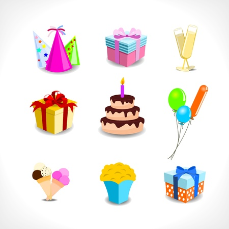 birthday icons - gifts, balloons, drinks, cake, popcorn - on white background Illustration