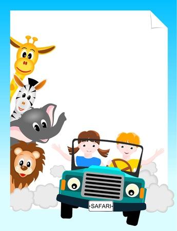 çocuklar: vektör çizim - aslan, fil, zürafa ve zebra ile safari arabada çocuklar