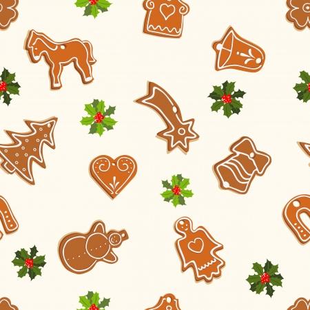 christmas berries: Natale seamless con pan di zenzero e santa - illustrazione vettoriale