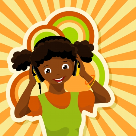 listen to music: african girl with headphones listening to music - vector illustration