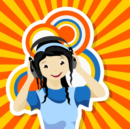 asian girl with headphones listening to music - vector illustration Vector