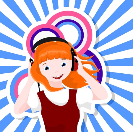 caucasian girl with headphones listening to music - vector illustration Vector