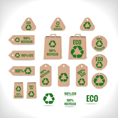 collection of tags and other objects with recycling theme - vector illustration
