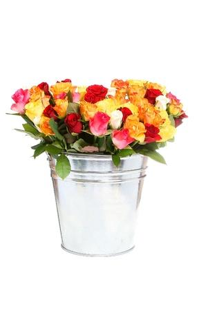 rosas naranjas: rosas en un cubo metálico aislado sobre fondo blanco