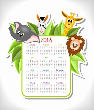 달력 2013 만화 얼룩말, 코끼리, 기린, 사자