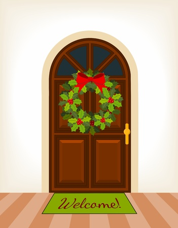 doormat: brown wooden door with christmas holy wreath Illustration