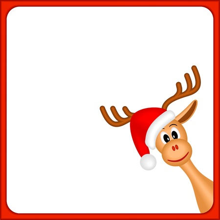 christmas reindeer in empty frame with red border and white background 向量圖像