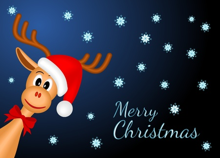christmas reindeer with red santa Vector