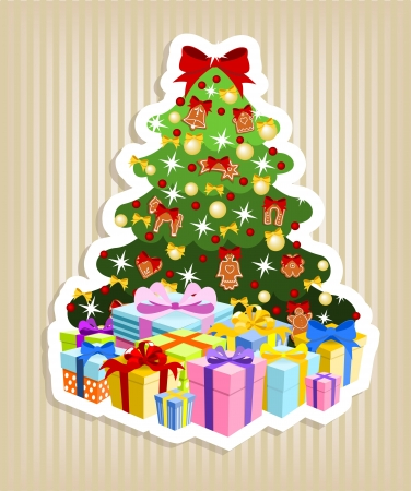 decorated christmas tree with pile of colorful gifts Vector