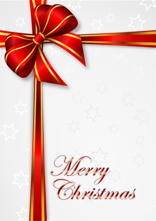 christmas background with red ribbon with golden stripes  and  gray stars - illustration Stock Illustration - 15122965