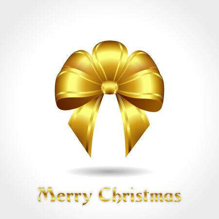 nodes: festive golden bow with text Merry Christmas - illustration Stock Photo