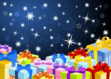 gifts: Kerst achtergrond met kleurrijke geschenken en donkere hemel