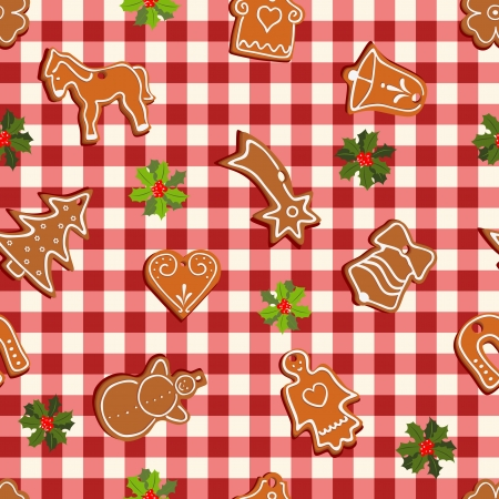 seamless pattern in christmas style with gingerbread and holly Stock Vector - 15328967