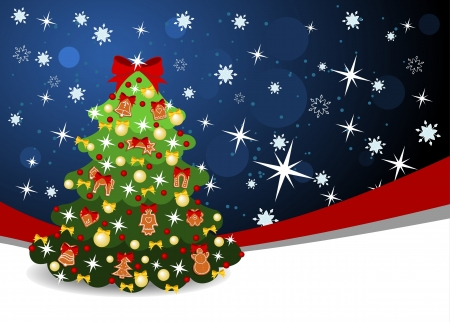 christmas background with red ribbon and decorated christmas tree Vector