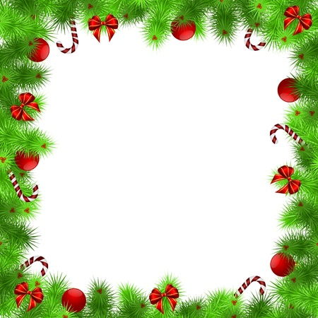 christmas frame, green needles with red balls and ribbons, white background