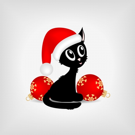Black funny kitty with red christmas balls
