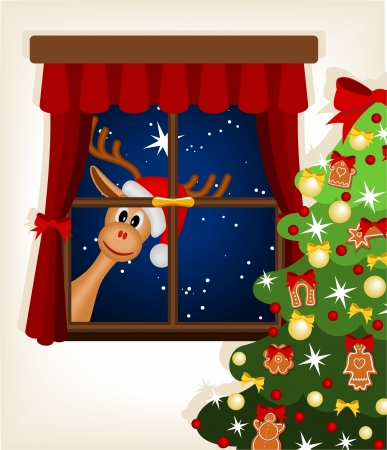 window curtains: funny reindeer looking through window at christmas time