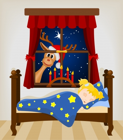 cartoon reindeer: christmas reindeer looking through window at sleeping baby