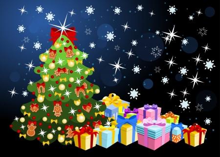 lebkuchen: Weihnachtsbaum mit Lebkuchen und B�ndern geschm�ckt, mit Haufen von bunten Geschenke