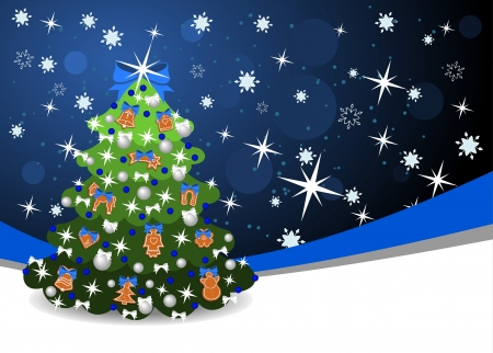 christmas background with blue ribbon and christmas tree Vector