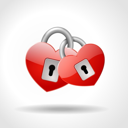 inseparable: two locked padlocks in shape of red hearts, symbol of true love