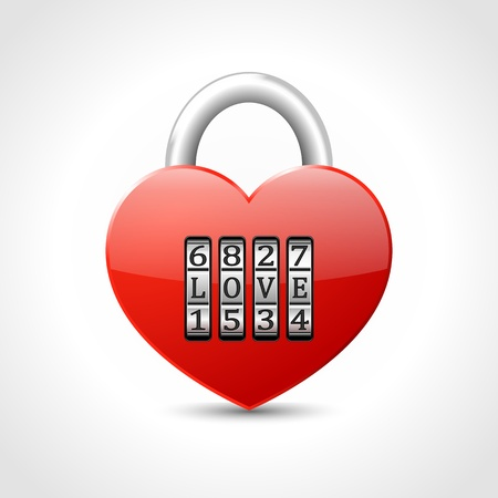 combination: red padlock -  heart with combination lock, with text LOVE,