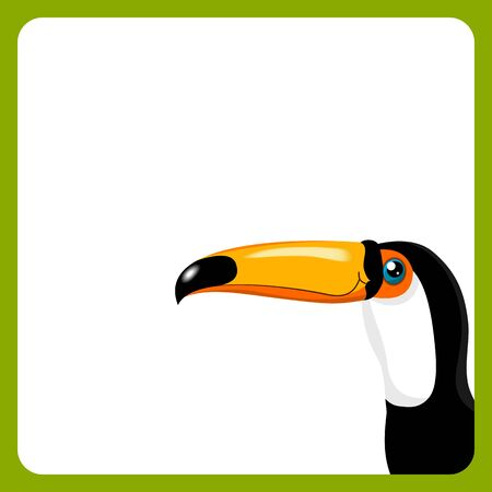 side border: green frame with toucan on white background Illustration