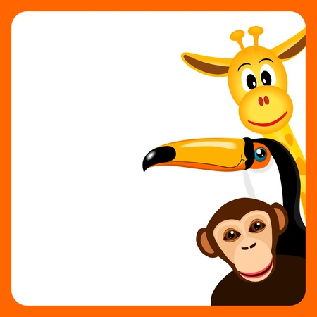 safari animal: orange frame with toucan, giraffe and monkey on white background Illustration