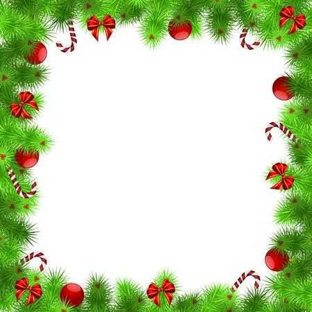 marcos decorados: Marco de la Navidad, agujas verdes con bolas rojas y cintas, fondo blanco - ilustraci�n vectorial, EPS 10