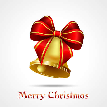 golden bell with red ribbon on white background, christmas Vector