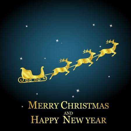 golden deer with sleigh on night sky, christmas  Vector