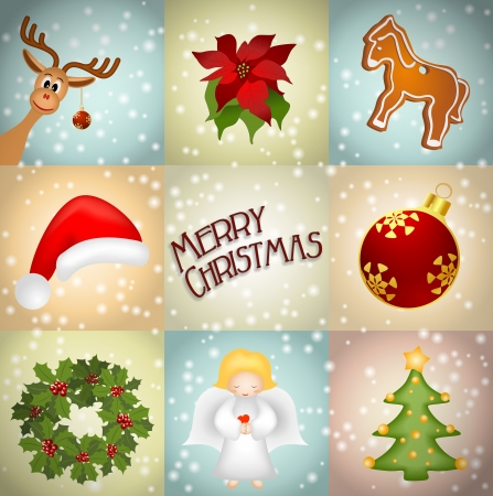 christmas illustration with reindeer, gingerbread, wreath, angel, christmas tree, poinsettia Vector
