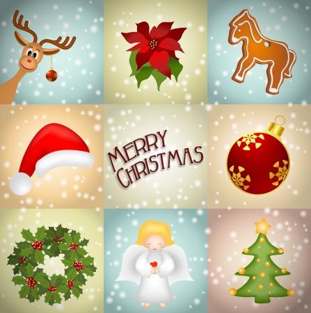 advent wreath: christmas illustration with reindeer, gingerbread, wreath, angel, christmas tree, poinsettia