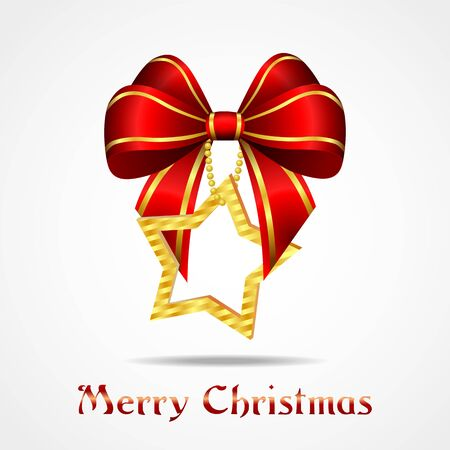 christmas bow: golden star with red ribbon, christmas decoration Illustration