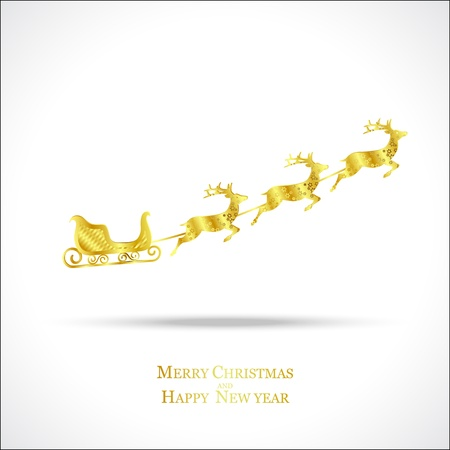 golden deer with red sleigh on white background, christmas  Stock Vector - 15685793