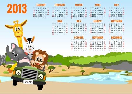 Calendar 2013 with animals - elephant, zebra, lion and giraffe Stock Vector - 15685798