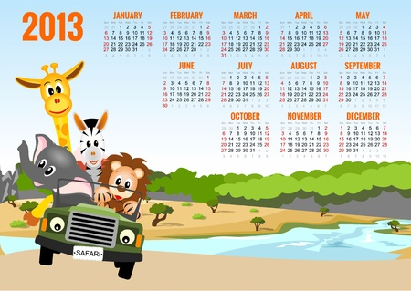 Calendar 2013 with animals - elephant, zebra, lion and giraffe  Illusztráció