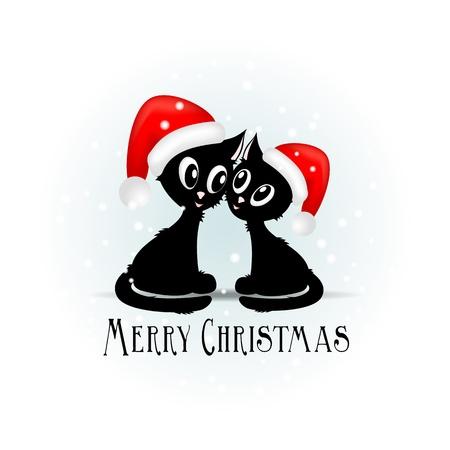 Gatito negro divertido con bolas rojas de la Navidad - ilustración vectorial