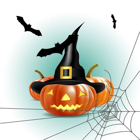 halloween pumpkin shining in the dark, with bats and spider web,  vector illustration, eps10 Stock Vector - 15800105