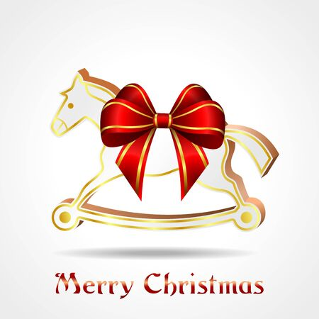 wooden horse: white wooden horse with red ribbon, christmas decoration, vector illustration, eps10